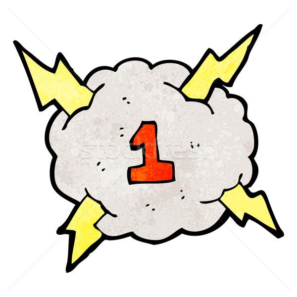 Karikatür gök gürültüsü bulut fırtına yıldırım Stok fotoğraf © lineartestpilot