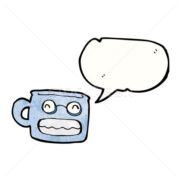 Vigyorog csésze rajz retro rajz bögre Stock fotó © lineartestpilot