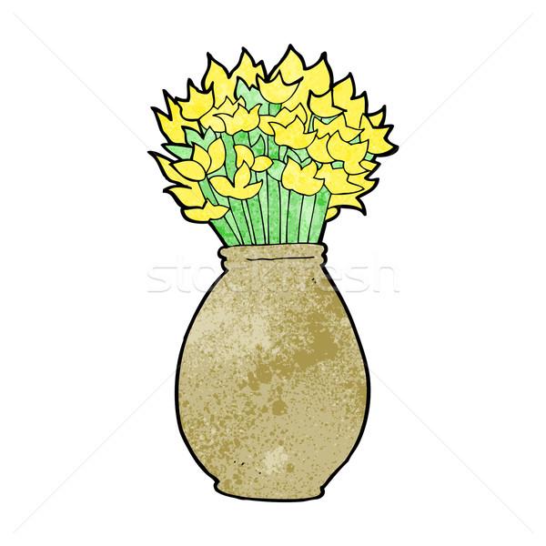 Сток-фото: Cartoon · ваза · цветы · стороны · дизайна · Crazy