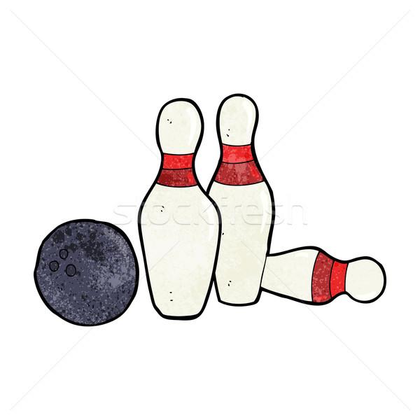Cartoon bowling ball strony projektu crazy bowling Zdjęcia stock © lineartestpilot
