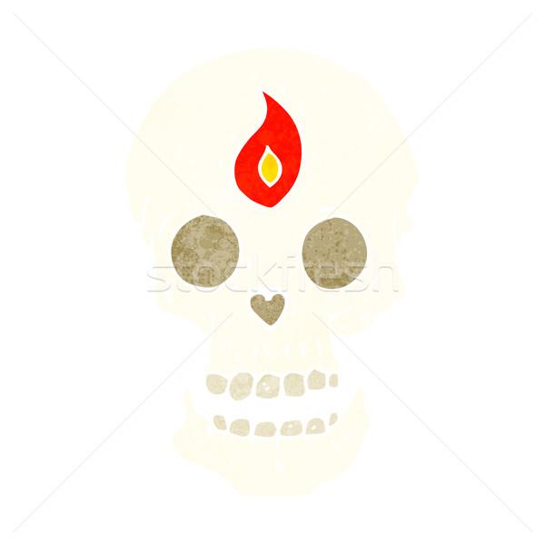Foto stock: Desenho · animado · místico · crânio · mão · projeto · arte