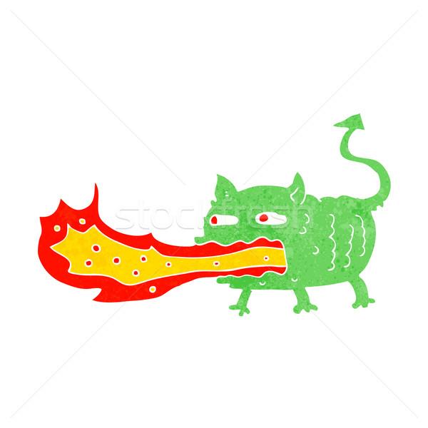 cartoon fire breathing imp Stock photo © lineartestpilot