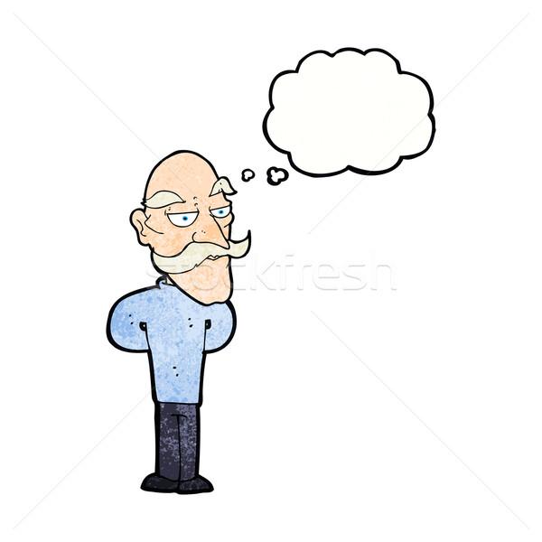 Cartoon oude man snor gedachte bel hand man Stockfoto © lineartestpilot