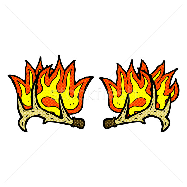 comic cartoon flaming antlers Stock photo © lineartestpilot