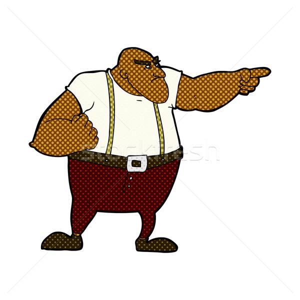 комического Cartoon сердиться жесткий парень указывая Сток-фото © lineartestpilot