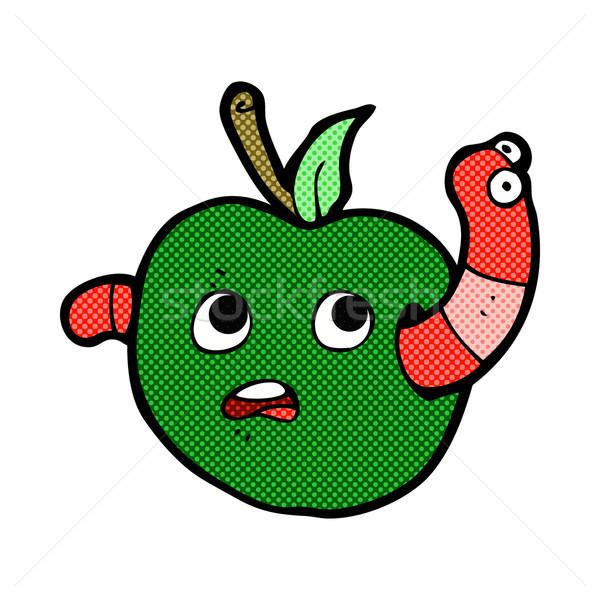 Foto stock: Cômico · desenho · animado · verme · maçã · retro