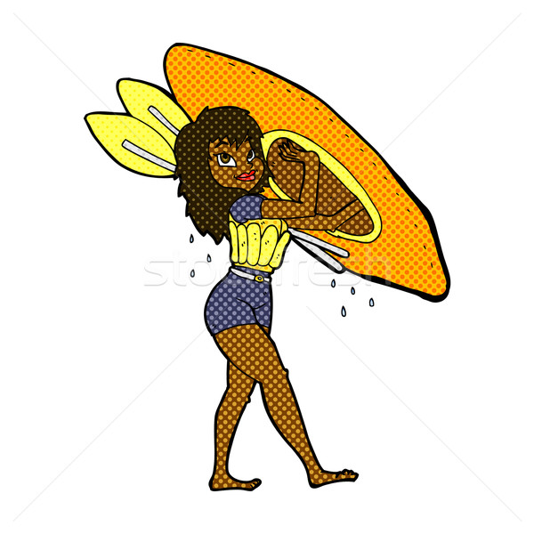 comic cartoon woman carrying canoe Stock photo © lineartestpilot