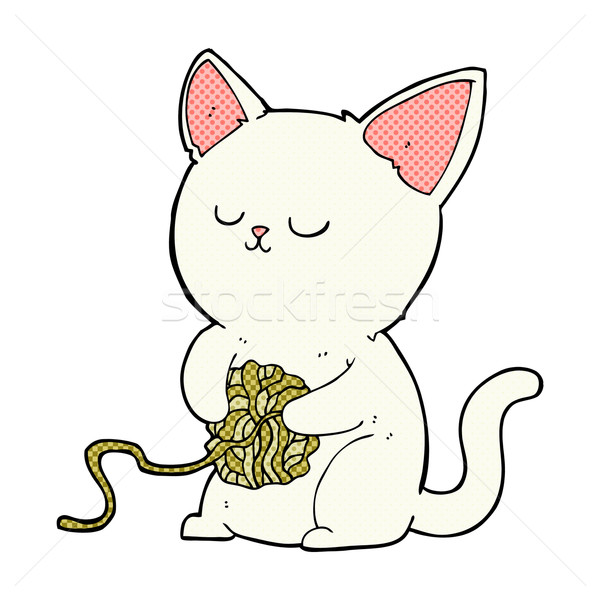 comic cartoon cat playing with ball of yarn Stock photo © lineartestpilot