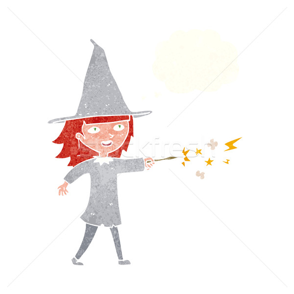 cartoon witch girl casting spell with thought bubble Stock photo © lineartestpilot