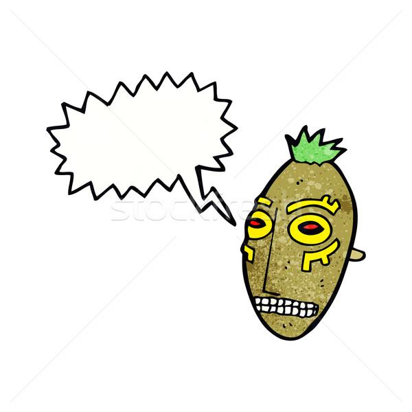 Cartoon племенных маске речи пузырь стороны дизайна Сток-фото © lineartestpilot