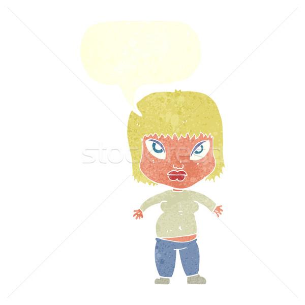 漫画 太り過ぎ 女性 吹き出し 少女 手 ストックフォト © lineartestpilot
