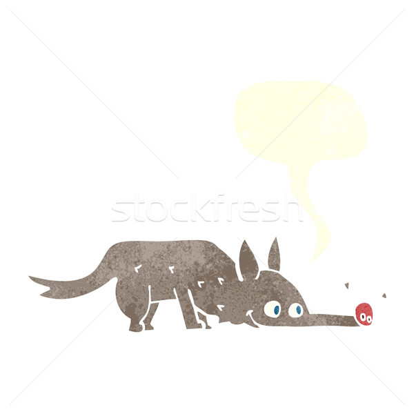 cartoon dog sniffing floor with speech bubble Stock photo © lineartestpilot