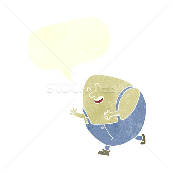 cartoon humpty dumpty egg character with speech bubble Stock photo © lineartestpilot