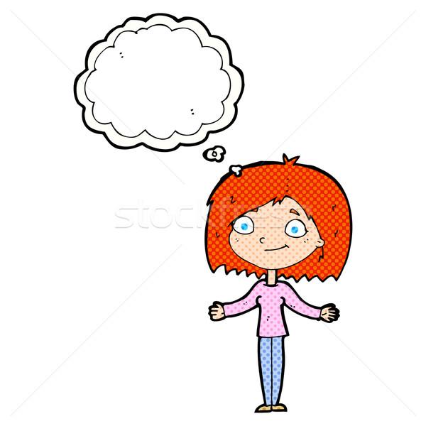 Cartoon женщину Плечи мысли пузырь стороны дизайна Сток-фото © lineartestpilot