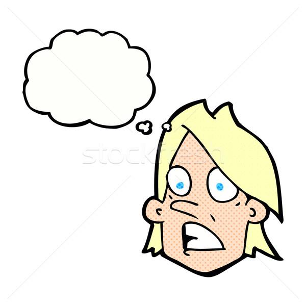 Cartoon przestraszony twarz bubble myśl strony projektu Zdjęcia stock © lineartestpilot