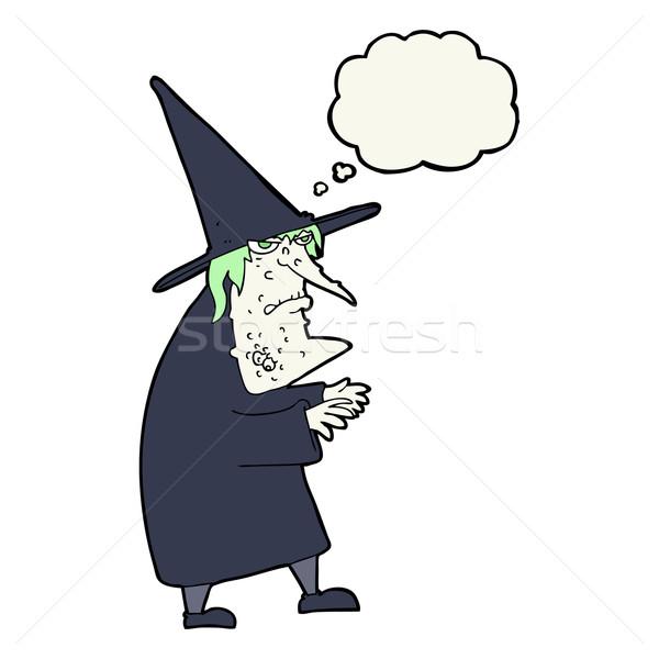 Cartoon brutto vecchio strega bolla di pensiero mano Foto d'archivio © lineartestpilot