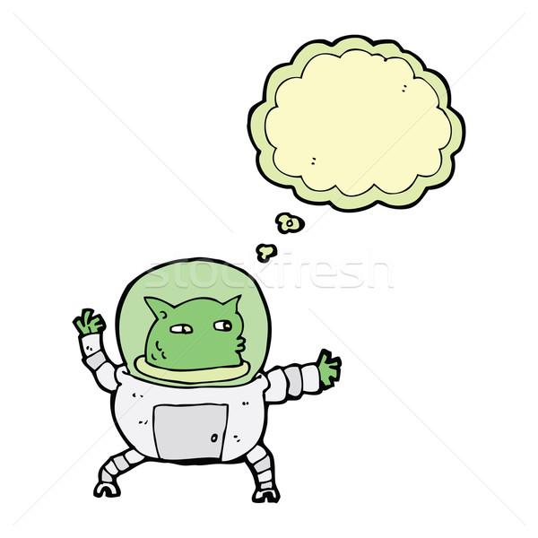 Desenho animado alienígena balão de pensamento mão homem projeto Foto stock © lineartestpilot