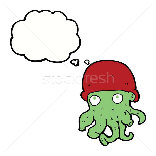 Karikatür yabancı kafa şapka düşünce balonu Stok fotoğraf © lineartestpilot