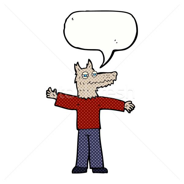 Cartoon счастливым волка человека речи пузырь стороны Сток-фото © lineartestpilot