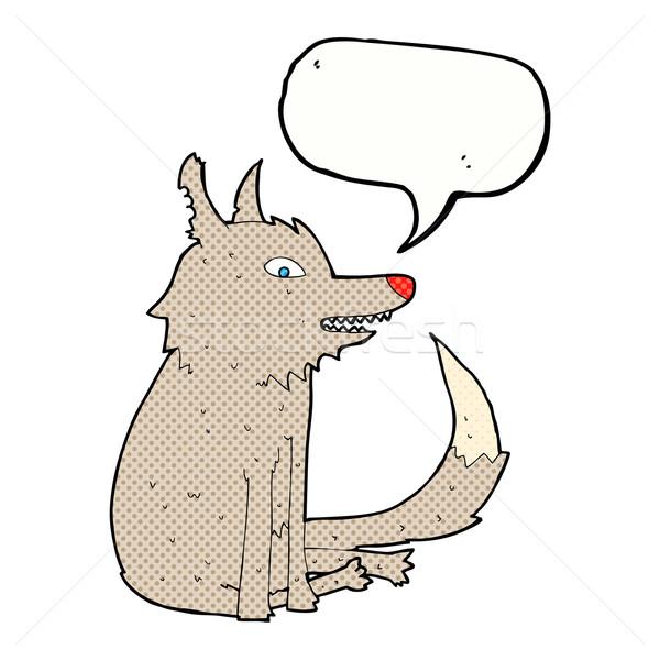 Cartoon волка сидят речи пузырь стороны дизайна Сток-фото © lineartestpilot