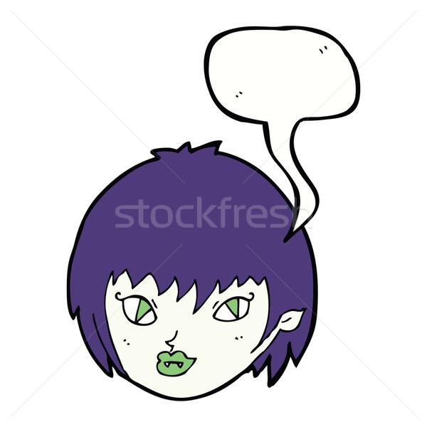 漫画 吸血鬼 少女 顔 吹き出し 手 ストックフォト © lineartestpilot
