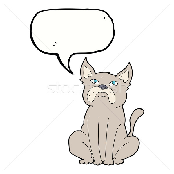 Cartoon knorrig weinig hond tekstballon hand Stockfoto © lineartestpilot