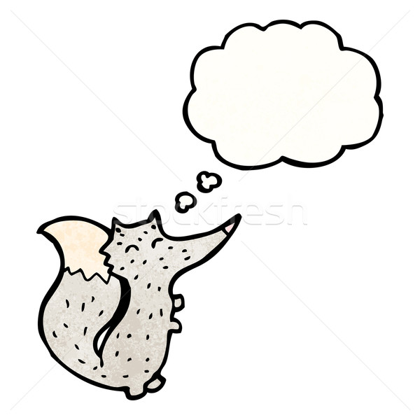 Cartoon мало волка мысли пузырь ретро мышления Сток-фото © lineartestpilot