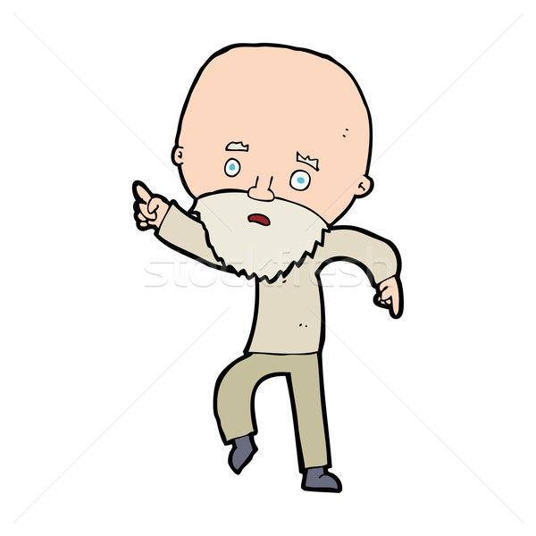 cartoon worried old man pointing Stock photo © lineartestpilot