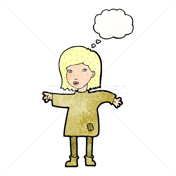 cartoon woman in patched clothing with thought bubble Stock photo © lineartestpilot