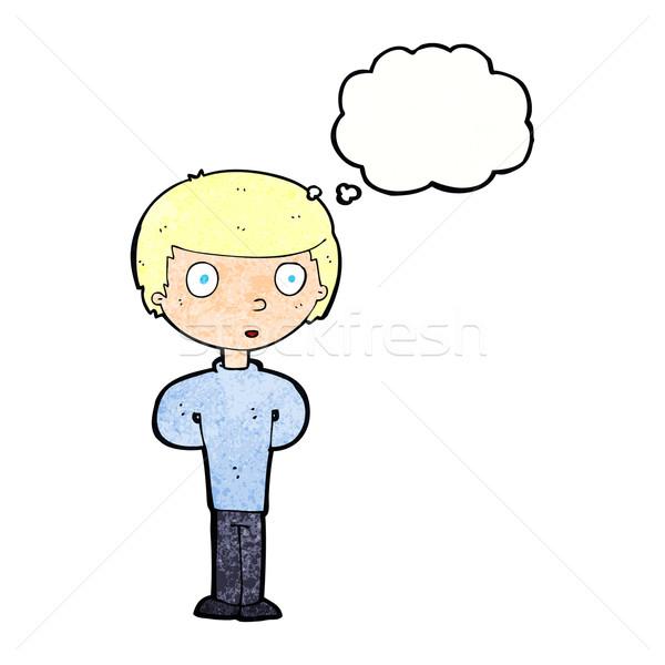 Cartoon curioso nino burbuja de pensamiento mano hombre Foto stock © lineartestpilot