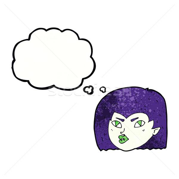 Cartoon vampiro faccia bolla di pensiero donna mano Foto d'archivio © lineartestpilot