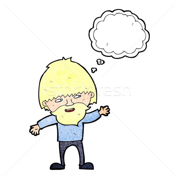 Desenho animado feliz barbudo homem balão de pensamento Foto stock © lineartestpilot