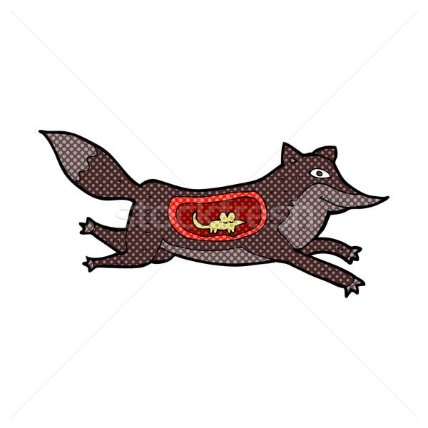 Komiks cartoon wilk myszą brzuch retro Zdjęcia stock © lineartestpilot