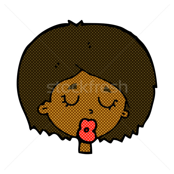 comic cartoon woman with eyes closed Stock photo © lineartestpilot