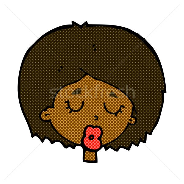 Komik karikatür kadın gözleri kapalı Retro Stok fotoğraf © lineartestpilot
