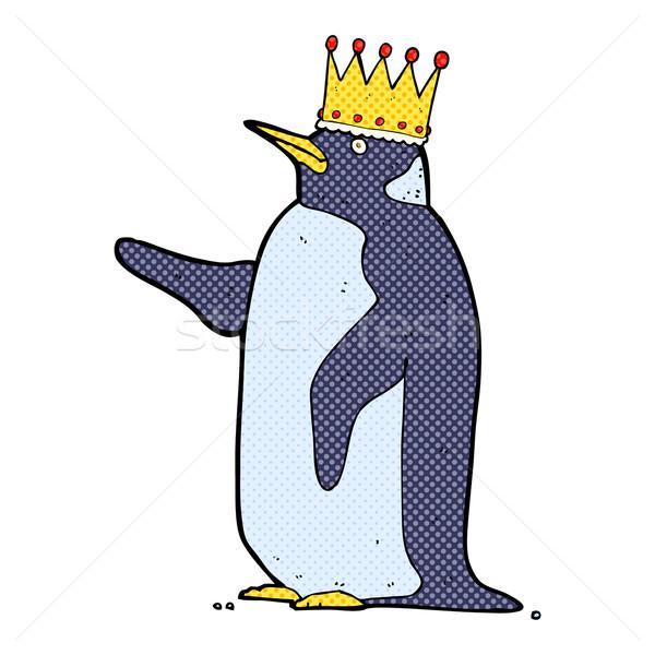 comic cartoon penguin wearing crown Stock photo © lineartestpilot