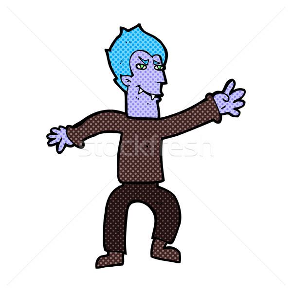 Cômico desenho animado vampiro homem retro Foto stock © lineartestpilot
