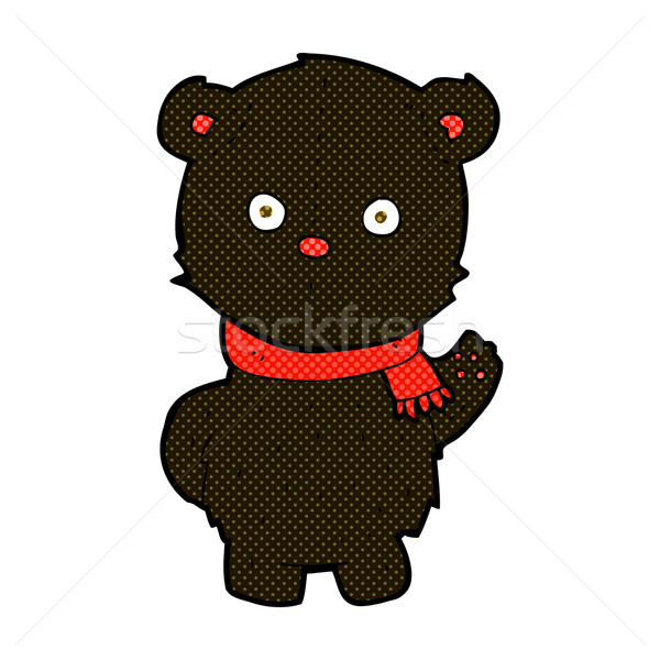 comic cartoon waving black bear cub Stock photo © lineartestpilot