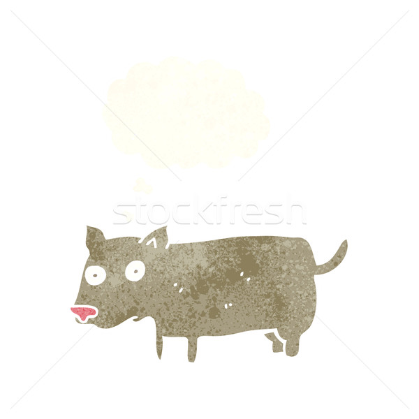 Desenho animado pequeno cão balão de pensamento mão projeto Foto stock © lineartestpilot