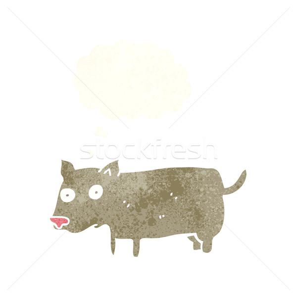 Cartoon weinig hond gedachte bel hand ontwerp Stockfoto © lineartestpilot