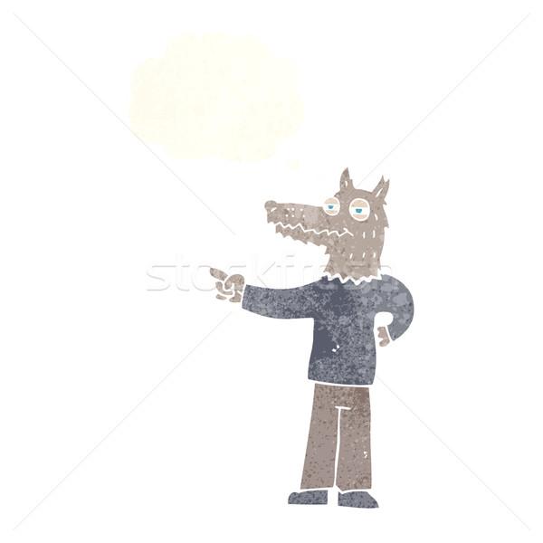 Cartoon wijzend wolf man gedachte bel hand Stockfoto © lineartestpilot