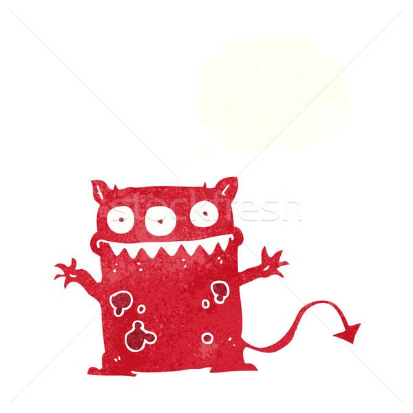 Karikatur wenig Monster Gedankenblase Hand Design Stock foto © lineartestpilot