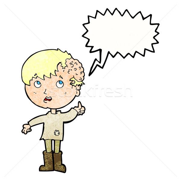 Cartoon jongen groei hoofd tekstballon hand Stockfoto © lineartestpilot