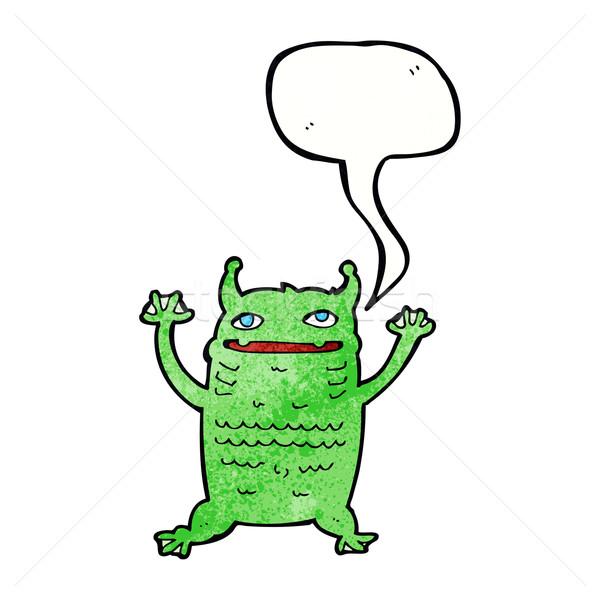 Cartoon weinig monster tekstballon hand ontwerp Stockfoto © lineartestpilot