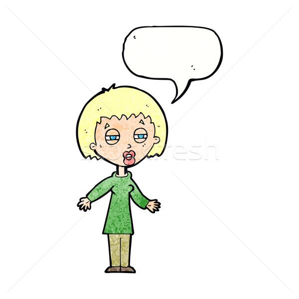 Cartoon fatigué femme bulle main design Photo stock © lineartestpilot