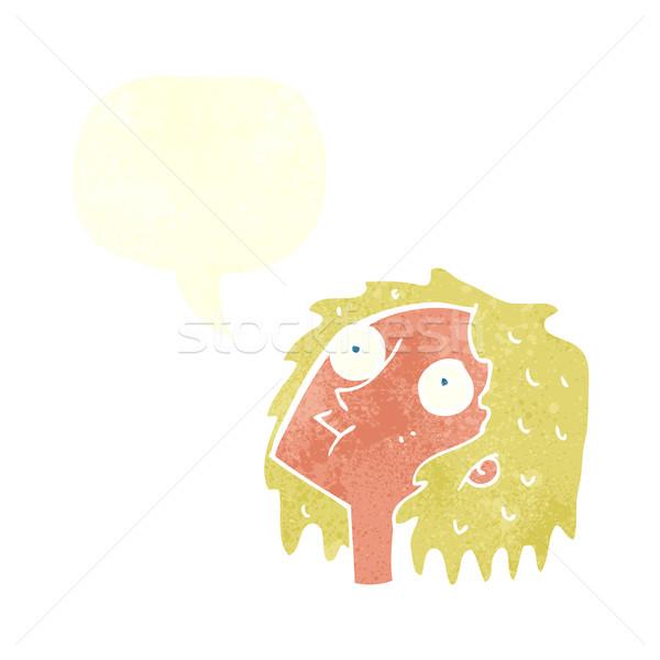 Cartoon staren vrouw tekstballon hand gezicht Stockfoto © lineartestpilot