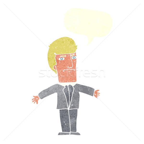 Cartoon agacé patron bulle main design Photo stock © lineartestpilot