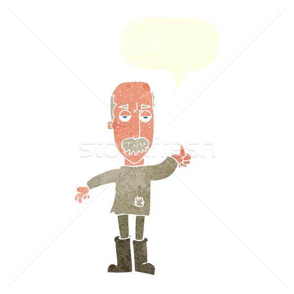 Cartoon agacé vieillard bulle main design Photo stock © lineartestpilot