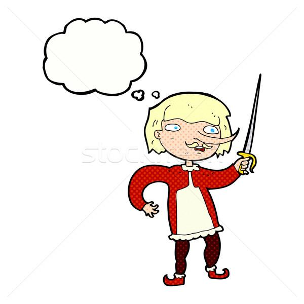Cartoon moschettiere bolla di pensiero mano uomo design Foto d'archivio © lineartestpilot