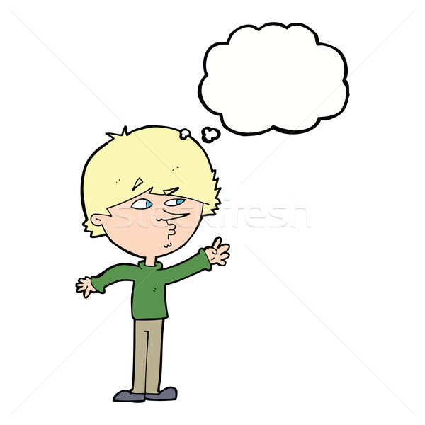 cartoon worried man reaching with thought bubble Stock photo © lineartestpilot
